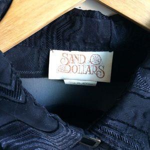 Sand Dollar Tops - Black Oversized Shirt Multi Texture Fabric  Size M